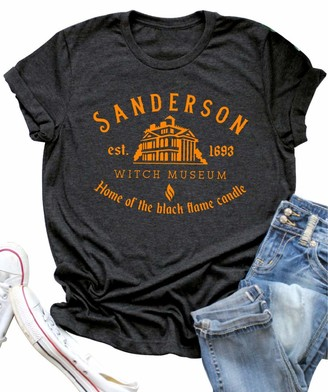 QLOVELY Halloween T Shirt Sanderson Sisters Bed and Breakfast Funny Letter Print Women Short Sleeve Graphic Tees Tops (Grey1 Medium)