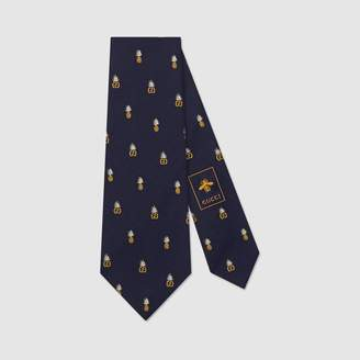 Gucci Double G and pineapples silk tie