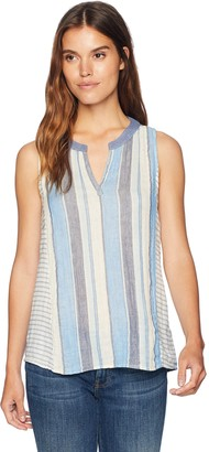 Dylan by True Grit Women's Lightweight Cotton Double Cloth Multi Stripes Sleeveless Top