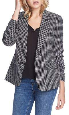 1 STATE 1.State Open-Front Checkered Blazer