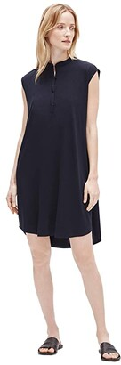 Eileen Fisher Mandarin Collar Dress (Ink) Women's Dress