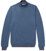 Etro Contrast-Tipped Mélange Wool Half-Zip Sweater