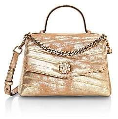 Tory Burch Women's Small Kira Chevron Metallic Leather Top Handle Bag