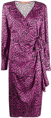 Andamane Carly leopard-print satin wrap dress
