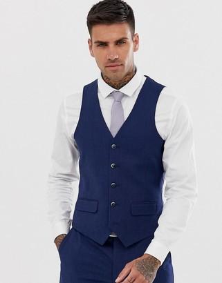 Harry Brown slim fit semi plain navy suit vest