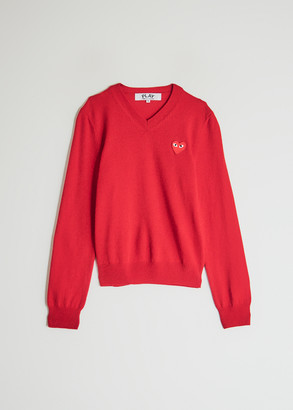 Comme des Garcons Women's Play Red Heart V-Neck Pullover Top in Red, Size Extra Small | Wool
