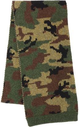 Miu Miu camouflage print knitted scarf