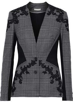 Jonathan Simkhai Twill-paneled Appliqued Prince Of Wales Checked Wool Blazer