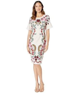 Adrianna Papell Folkloric Beauty Sheath Dress (Pink Multi) Women's Dress