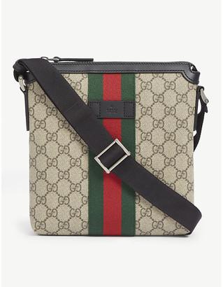 Gucci Supreme logo canvas flight bag