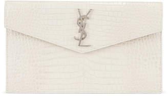 Saint Laurent Uptown Medium Embossed Croc Envelope Clutch in Crema Soft | FWRD