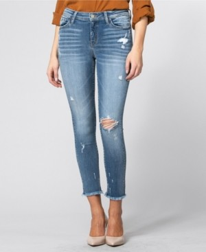 Flying Monkey Mid Rise Fray Hem Crop Skinny Jeans