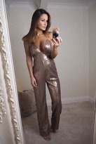 Limited Edition Sam Faiers Wears Bronze Sequin Jumpsuit
