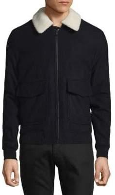 Michael Kors Wool Sherpa Accented Aviator Bomber Jacket