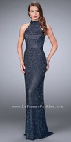 La Femme Fully Beaded High Collar Cut Out Back Prom Dress