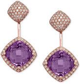 Effy Amethyst (3/4 ct. t.w.) and Diamond (3/4 ct. t.w.) Earrings in 14k Rose Gold