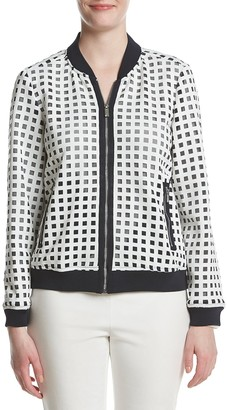 Jones New York Women's Scuba Mesh Bomber Jacket