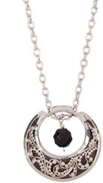 Lois Hill Sterling Silver Double Sided Moon & Bead Pendant Necklace