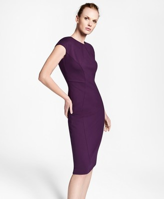 Brooks Brothers Ponte Knit Cap-Sleeve Sheath Dress