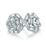 Cubic Zirconia & Silvertone Round Stud Earrings