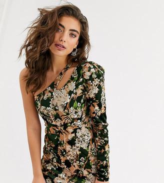 N. Ebonie Ivory ebonie ivory one sleeve mini dress in floral-Multi