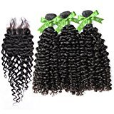 GoldRose Hair Grade 5A Brazilian Curly Wave 3 Bundles 22''24''26'' With Closure Three Part 16'',Curly Wave Brazilian Virgin Hair With 4*4 Lace Closure,100%Unprocessed Virgin Human Curly Weave Hair Bundles