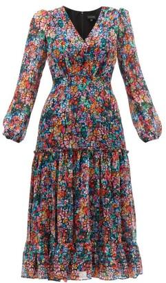 Saloni Devon Cracked-floral Print Silk-georgette Dress - Multi