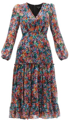 Saloni Devon Cracked-floral Print Silk-georgette Dress - Womens - Multi