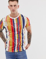Asos DESIGN t-shirt in stripe and all over nautical print