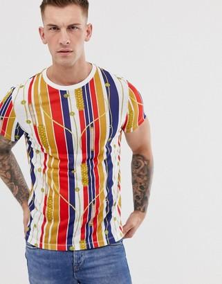 Asos Design DESIGN t-shirt in stripe and all over nautical print-Multi