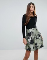 Traffic People Skater Dress With Contrast Printed Skirt