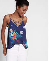 Express floral print strappy crisscross cami