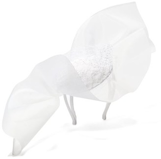Stephen Jones Tulle-bow Sinamay-trim Satin Headdress - White