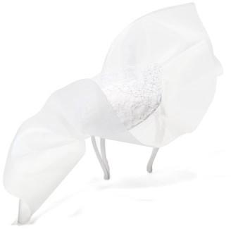 Stephen Jones Tulle-bow Sinamay-trim Satin Headdress - Womens - White