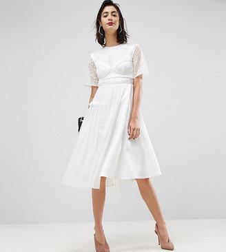 Asos Design PREMIUM Satin Pleat Detail Dress With Detachable Bralet-White