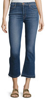 Mother Insider Crop Undone-Hem Jeans, Indigo