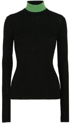 Calvin Klein Appliqued Ribbed Wool-blend Turtleneck Sweater