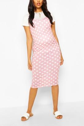 boohoo Maternity Polka Dot 2 In 1 Bodycon Dress