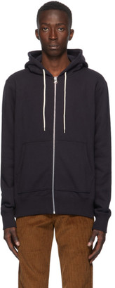 Naked and Famous Denim Navy Heavyweight Terry Zip Hoodie
