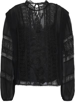 Joie Appliqued Silk-georgette, Lace And Point D'esprit Blouse