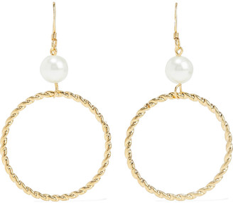 Kenneth Jay Lane 22-karat Gold-plated Faux Pearl Earrings