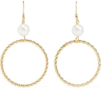 Kenneth Jay Lane 22-karat Gold-plated Faux Pearl Earrings