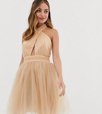 Dolly & Delicious Petite cross neck full prom glitter mini dress in tan