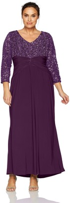 Marina Women's Plus Size Lace Jersey Combo Long Sleeve Gown