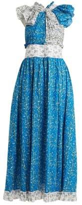 Gül Hürgel Knot Front Cotton Dress - Womens - Blue Print