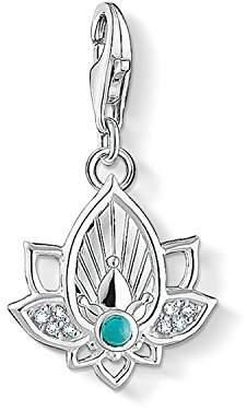 Thomas Sabo Women Charm Pendant Lotus Flower 925 Sterling Silver 1446-405-14