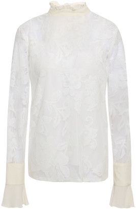 See by Chloe Crepe De Chine-paneled Embroidered Mesh Top