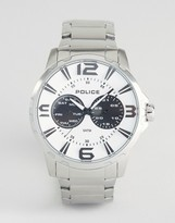 Police Visionary Mens Multi Functional White Dial Stainless Steel Bracelet