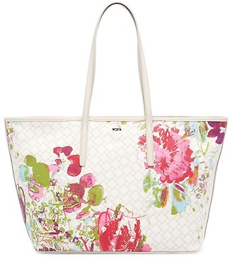Tumi Everyday Floral-Print Leather-Trim Canvas Tote