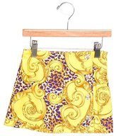 Versace Girls' Printed Button-Adorned Skirt